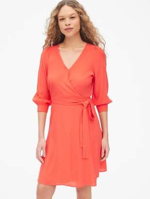 Gap Blouson Sleeve Wrap Dress