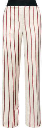 Striped Satin-jacquard Wide-leg Pants - Beige