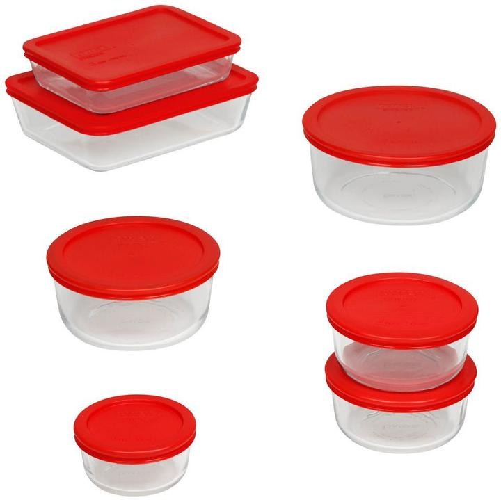 Pyrex 14-Piece Glass Mixing Bowl and Bakeware Set with Lids in Red