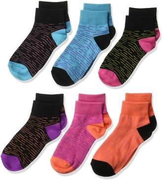 Fruit of the Loom Big Girl's 6 Pack Melange Flat Knit Ankle Socks