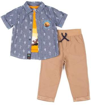 Little Lad Short Sleeve Printed Chambray Button Up Shirt, Short Sleeve Graphic T-shirt & Drawstring Joggers, 3pc Outfit Set (Baby Boys & Toddler Boys)