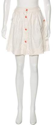 See by Chloe Linen Button-Up Mini Skirt