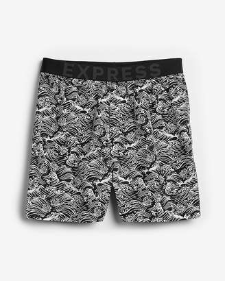 Express Wave Print Exposed Waistband Woven Boxers