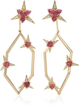 Carol Kauffmann Galactic Star 18K Gold Diamond And Pink Tourmaline Drop Earrings