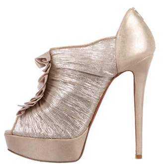 Christian Louboutin Metallic Chiffon Peep-Toe Pumps Gold Metallic Chiffon Peep-Toe Pumps