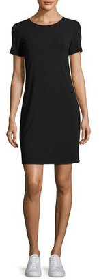 Theory Luchia Twist-Back Rubric Jersey T-Shirt Dress, Black $190 thestylecure.com