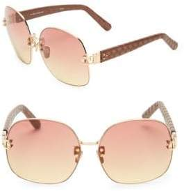 Linda Farrow 62MM Ostrich Leather Arm Square Sunglasses