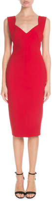 Victoria Beckham V-Neck Decollette Sleeveless Crepe Sheath Dress