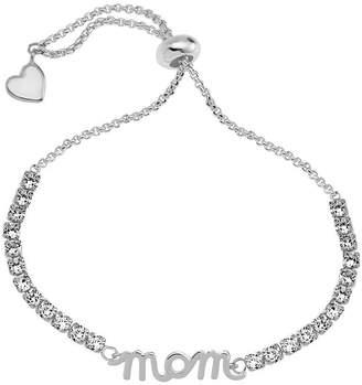 SPARKLE ALLURE Sparkle Allure Mom White Cubic Zirconia Pure Silver Over Brass 6 Inch Box Heart Bolo Bracelet