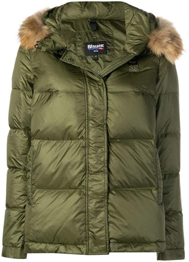 fur hood trim puffer jacket