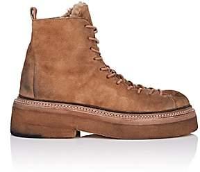 Marsèll Women's Shearling-Lined Suede Hiker Boots-Beige, Tan