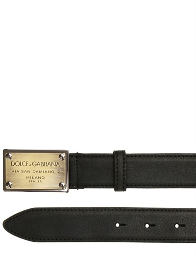 Dolce & Gabbana - 3cm Washed Leather Metal Buckle Belt