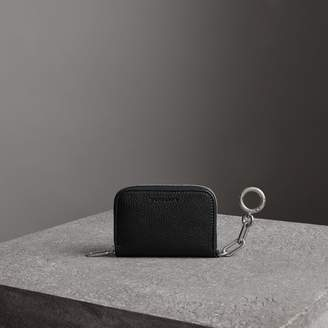 Burberry Link Detail Leather Ziparound Wallet, Black
