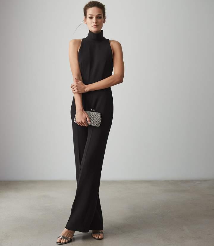 Dori - High Neck Open Back Jumpsuit in Black
