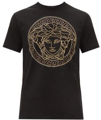 Versace Medusa Head Embellished Cotton T Shirt - Mens - Black