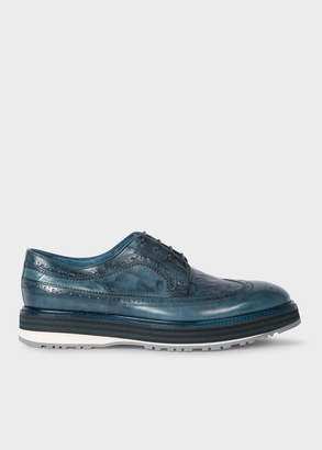 Paul Smith Men's Blue Leather 'Grand' Brogues With Striped Soles