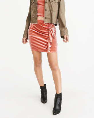 Abercrombie & Fitch Ruffle Velvet Mini Skirt