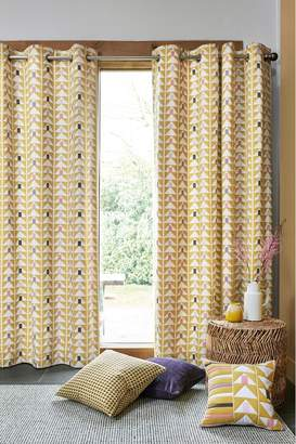 Next Ochre Geo Print Eyelet Curtains - Yellow