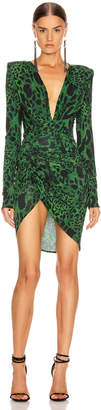 Alexandre Vauthier Jersey Lynx Ruched Dress in Moss | FWRD