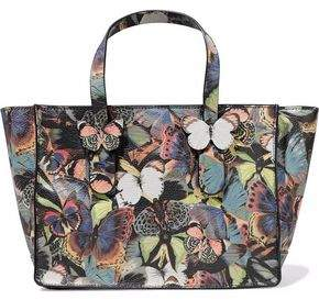 Valentino Camu Butterfly Printed Leather Tote