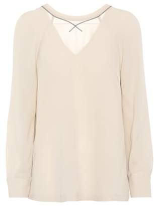 Brunello Cucinelli Embellished silk blouse