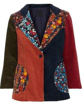 Anna Sui Patchwork Cotton-Corduroy Jacket