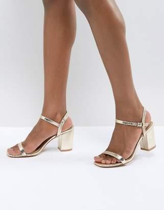 Glamorous Gold Block Heel Sandals
