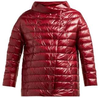 Herno Quilted Down Filled Boat Neck Jacket - Womens - Burgundy