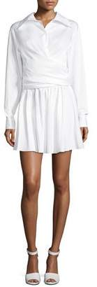 Opening Ceremony Collared Wrap-Front Sateen Shirtdress