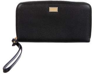 Dolce & Gabbana Textured Leather Zip-Around Wallet