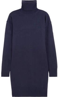 Maison Margiela - Suede-trimmed Wool Turtleneck Sweater - Navy $690 thestylecure.com