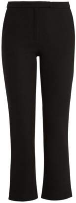 Osman Yasmin Kick Flare Wool Cropped Trousers - Womens - Black