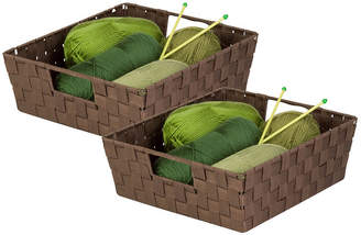 Honey-Can-Do Set of 2 Woven Trays, Chocolate