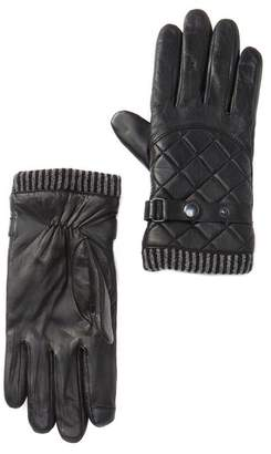 14th & Union Moto Quilted Leather Faux Fur Lined Tech Gloves