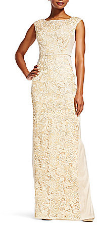 Adrianna Papell Adrianna Papell Round Neck Cap Sleeve Lace Insert Column Gown