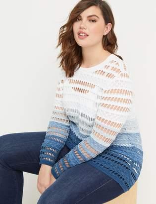 Lane Bryant Ombre Open-Stitch Pullover