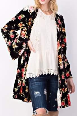 Easel Floral Velvet Kimono
