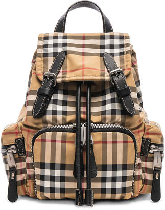 Burberry Small Vintage Check Backpack in Antique Yellow | FWRD