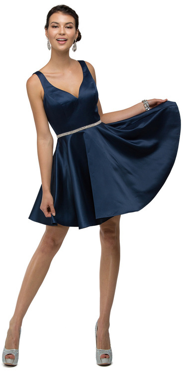 Dancing Queen - Chic Bedazzled V-neck Short Satin A-line Dress 9504