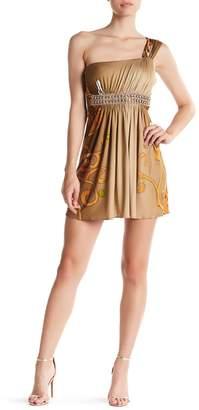 Sky Jangienka Rhinestone One-Shoulder Silk Dress