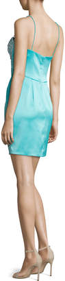Mignon Short Rhinestone-Embellished Cocktail Dress, Aqua