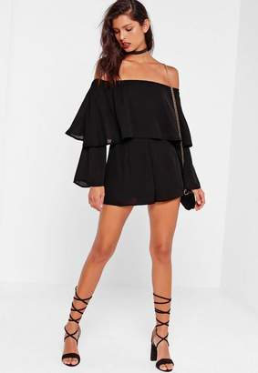 Missguided Tall Black Double Layer Bardot Romper