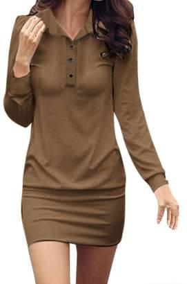 Allegra K Women Point Collar Button Upper Long Sleeves Mini Dress L