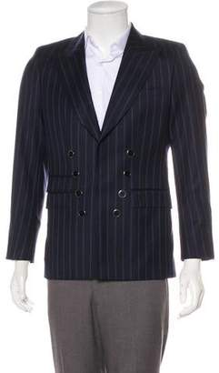 Les Hommes Double-Breasted Striped Virgin Wool Blazwer