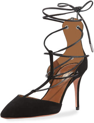 Aquazzura Cayenne Strappy Suede Sandals, Black