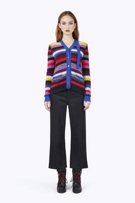 CONTEMPORARY Cashmere Grunge Stripe Tie-Neck Cardigan