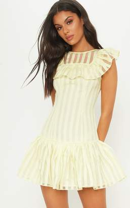 PrettyLittleThing Lemon Striped Mesh Frill Hem Bodycon Dress