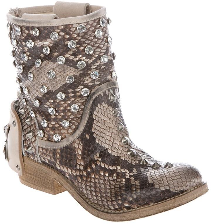 Baldan studded python skin boot