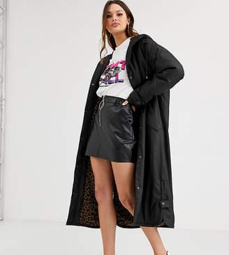 Asos Tall DESIGN Tall maxi raincoat with animal fleece lining in black