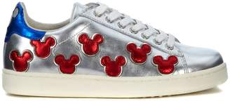 Moa Silver Laminated Leather Sneaker With Mickey Mouse